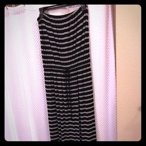 Jcrew black and white stripe jersey maxi dress